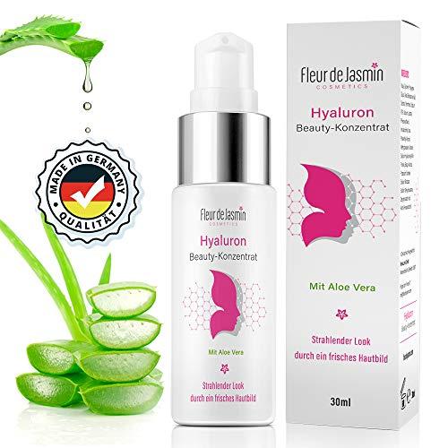 Hyaluron Serum - Hochdosiert - Hyaloronsäure mit Aloe Vera Gel für Gesicht, Hals und Dekolleté - Anti aging Serum hergestellt in Deutschland-Fleur de Jasmin Beauty Konzentrat