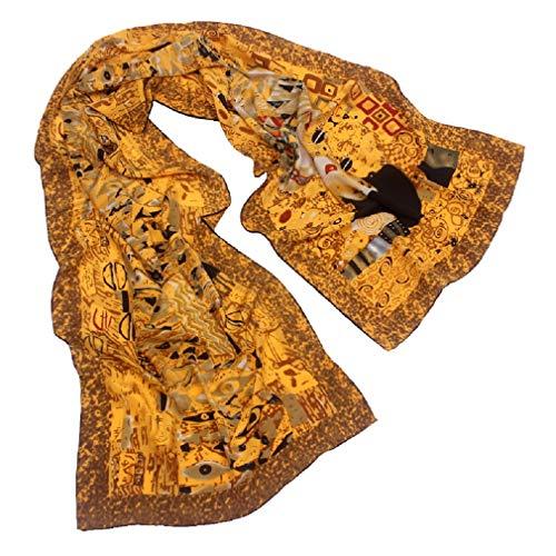 Collection-schal Aus Seide (TONY&CANDICE 100% Seide Luxuriöser Charmeuse Art Collection lange Schal-Schal mit der Hand gerollten Rand, 157*40 CM (Adele Bloch-Bauer))