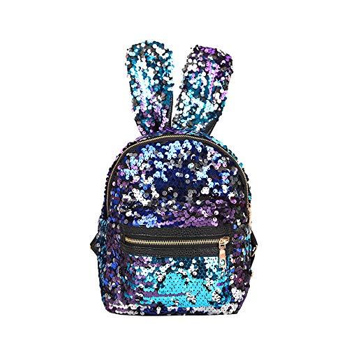 Fyyzg Reisetasche Mode Persönlichkeit Pailletten Häschenohren Rucksack Tasche neue koreanische Version der Flut bunte wilde Reise, blau