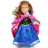 18-Zoll Puppen Kleidung Blau Kleid M. Fuchsia Umhang für American Girl-Puppe
