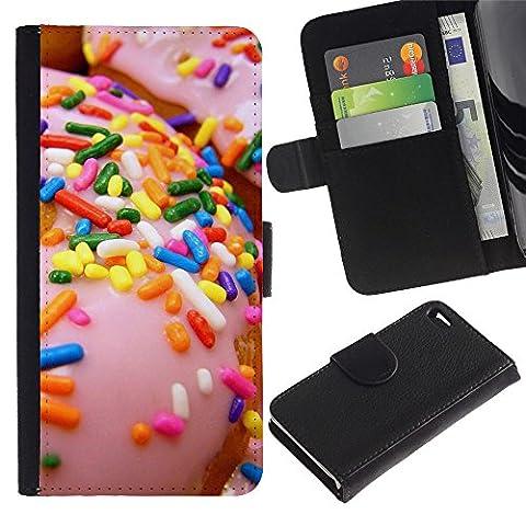 LASTONE PHONE CASE / Luxe Cuir Portefeuille Housse Fente pour Carte Coque Flip Étui de Protection pour Apple Iphone 4 / 4S / sprinkles glazed doughnut pink sweet