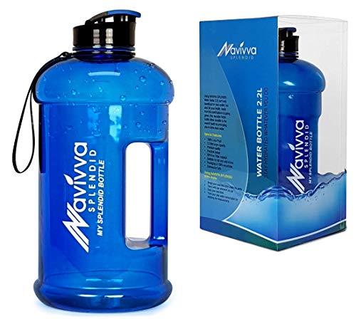 NAVIVVA SPLENDID Sport Trinkflasche Groß - 2.2 L Fitness Wasserflasche - Große XXL Sportflasche - Gym Water Bottle - BPA Frei - Easy Drink Cap - Spülmaschinenfest (Blau in der Box) (Frei Spülmaschinenfest Aus)