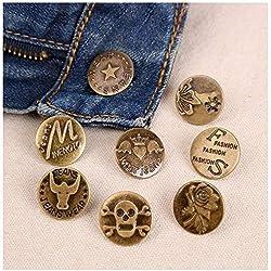 ICYANG - 50 unidades de metal de bronce antiguo para vaqueros, chaqueta vaquera, repuesto para costura, manualidades, accesorios de ropa, 20 mm, envío al azar