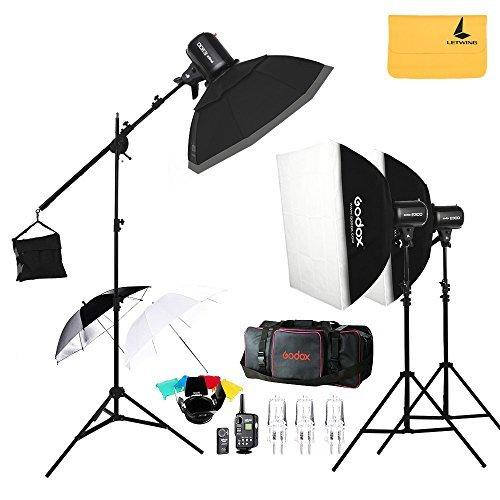 Godox E300300W Foto Studio Strobe Flash leicht, ft-16Auslöser, Softbox 50x 70cm, 33Zoll Reflektor, Fotoschirm Unterstützung, Transport Tasche, Flash Speedlite + letwing Tuch (E300Kit) - Flash Strobe Kit