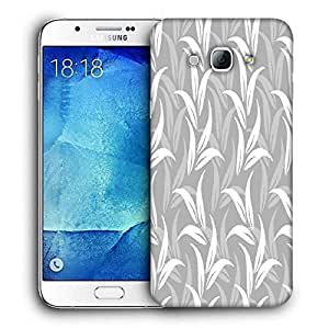 Snoogg White And Grey Leaves Printed Protective Phone Back Case Cover For Samsung Galaxy A8