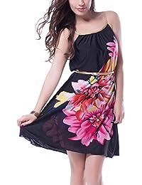 Multi Flowers Dress With Belt- Black