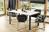 Endo-Moebel Design Esstisch Garant 80cm - 215 Metall erweiterbar Metallgestell Küchentisch (Weiß Hochglanz)