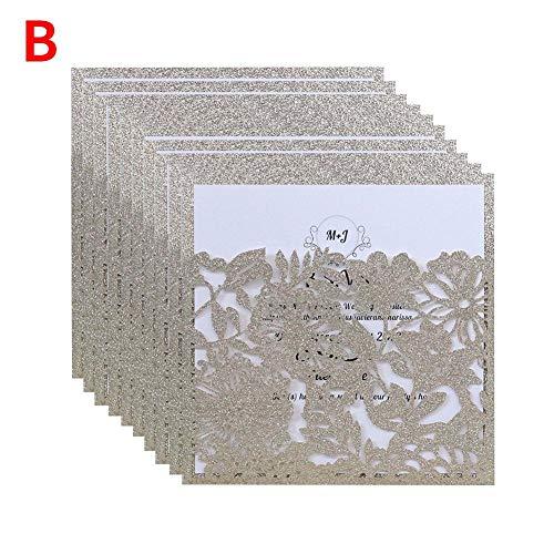 NAKELUCY Hochzeitseinladungskarte, Europäische Art-Tasche - Art-Verlobungs-Einladungskarten, für Hochzeits-Brautparty-Verlobungs-Geburtstags-Abschluss Laden EIN, 10 PC