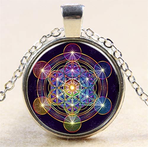 Geometrisches Muster Zeit Edelstein Glas Halskette Silber Pullover Kette B