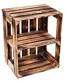 Massive Schuh- Bücherregalkiste Obstkiste Weinkiste Maße ca 50 x 40 x 31cm xxxaus dem Alten LandxxxWeinkisten Obstkisten Holzkiste Dekokiste Regal (geflammt offen Quer)