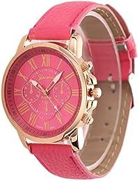 New Luxury Bracelet Geneva Roman Faux Leather Analog Quartz Wristwatch