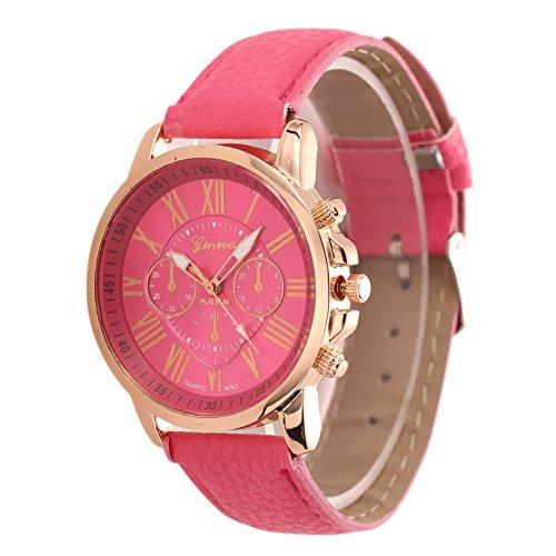 Rrimin Lovely Cute Black Cat Pattern Watch Women Fashion Quartz Watch Wrist Watch (Rose red)