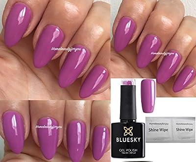 Bluesky A109 Light Purple Pink Summer Nail Gel Polish UV LED Soak Off 10ml PLUS 2 Luvlinail Shine Wipes