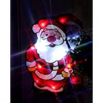 """Grande decorazione a LED per finestre """"Babbo Natale sorridente"""", silhouette rossa, 28 cm x 18 cm, con ventosa per fissaggio, integrato un interruttore on e off - decorazione per autunno, inverno, avvento e Natale"""
