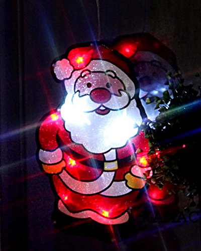 KAMACA LED Fensterbild Fensterlicht Fenstersilhouette mit Saugnapf zur einfachen Befestigung Weihnachtsbeleuchtung Deko Weihnachten (Weihnachtsmann)