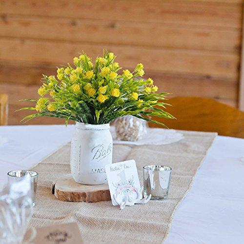Nahuaa Künstliche Pflanzen Kunstblumen 4 Stück Fake Blumen Künstliche Rose gelb Kleine Plastikpflanzen für Girlanden Balkon Hochzeit Büro Geschenk