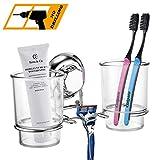 MaxHold Saugschraube Zahnbürste Becherhalter mit 2 Zahnputzbechern, Befestigen ohne Bohren - Edelstahl rostfrei - Küchen & Badezimmer Aufbewahrung
