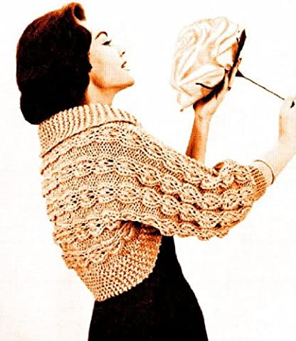 Large Needle Mock Cable Bolero Shrug Knit Vintage Knitting Pattern