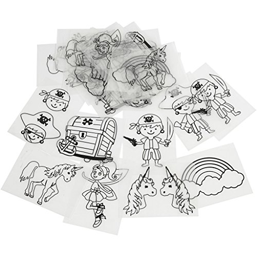 Plastik-Schrumpffolien mit Motiven, Blatt 10,5x14,5 cm, Piraten und Einhörner, 36Bl.