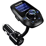 Transmisor FM de VicTsing para coche,Bluetooth Manos Libres Cargador con Audio de1.44 pulgadas LCD y 3.5mm Mic Puerto, Ranura para Tarjeta del TF(Negro)