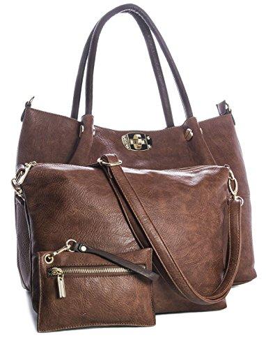 Big-Handbag-Shop-New-3-in-1-Faux-Leather-Tote-Shopper-Golden-Buckles-Shoulder-Bag
