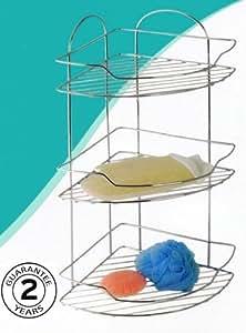 Kiwa 3 tier HQ Chrome Corner Shower Bathroom Shelf Basket Organiser Caddy 2 Year Rust Free Guarantee