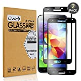 Owbb [2 Stück] Schwarz Gehärtetes Glas Display schutzfolie Für Samsung Galaxy S5 i9600 Full Coverage Schutz 99% High Transparent Explosionsgeschützter Film