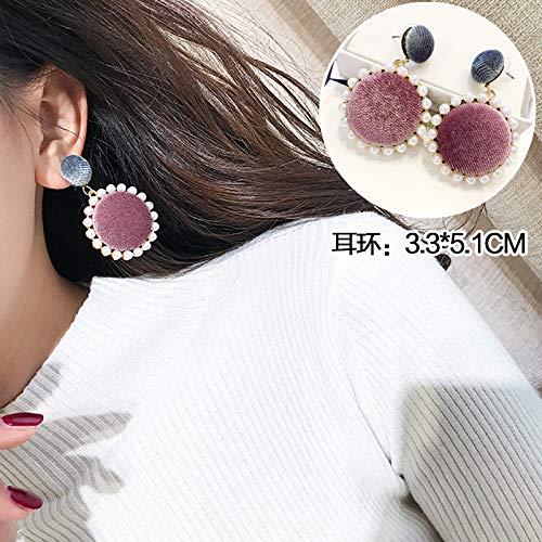 Chwewxi Temperament Lange Tidal Hair Ball Ohrringe Mode Ohrringe kleine Ohrläppchen passende Ohrringe, 22 rosa Asche Perlen