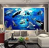 Hwhz Papier Peint De Dessin Animé Pour Les Enfants Personnalisé 3D Fonds Marins Monde Peinture Murale Dauphin Requin Baleine Photo Papier Peint Pour Enfants Chambre Décoration Murale-120X100Cm