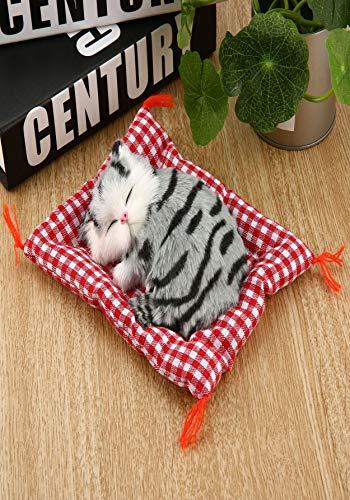 Lorenlli Mini schöne Nette kleine Simulation Tier Handwerk Puppe plüsch Faule schlafende Katzen mit Sound Kinder Spielzeug Geburtstagsgeschenk Puppe stofftier