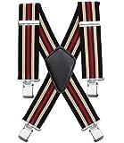 Elastische 5cm breite Hosenträger, 4 Starken Clips X-Form, Herren & Damen