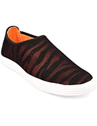 CF_Better Deals | Synthetic| Black-Orange Color| Casual Shoes| Sneakers| Canvas Shoes| Leather Shoes| Office Shoes...