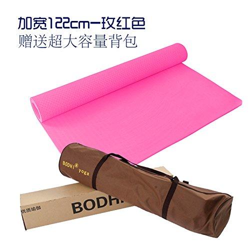 YOOMAT Yoga Matte groß Starter geruchlos TPE Doppel Verteidigung schieben Dicke Wide Extended Dance Mat Kinder üben, 8 Mm (Starter), die Verbreiterung von 122 cm - Rot (Die Private Tasche) 66877