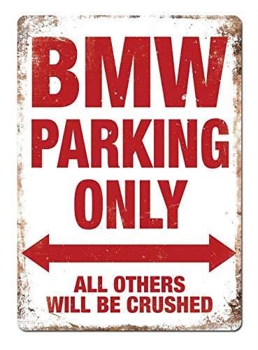 RABEAN BMW Parking Only Blechschilder Aluminium Schilder Eisen Malerei Blech Plakat Warnung Plakette hängende Kunst Plakate Dekorative Cafe Bar