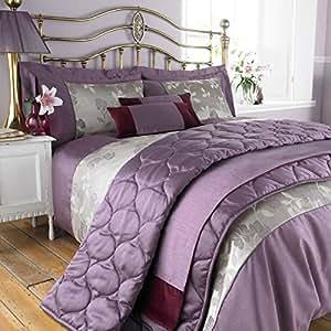 charlotte thomas chemin de lit imitation soie francesca prune bordeaux 50 x 240cm. Black Bedroom Furniture Sets. Home Design Ideas