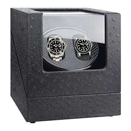 Kaufam Watch Winder, Scatola Orologio Carica Automatica Scatola del Tempo Porta Orologi Automatici con Motore Silenzioso Motore Rotatorio Porta Orologi 2 Posti