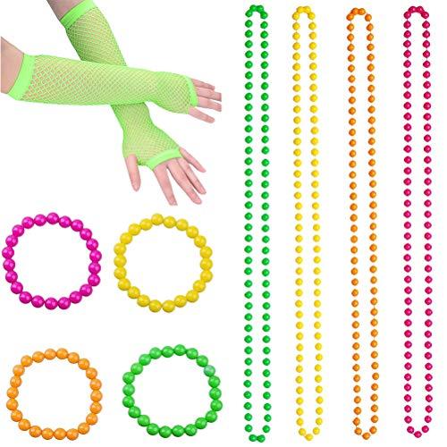 TENDYCOCO St. Patrick's Day Zubehör Set Perlen Halsketten Armbänder Fingerlose Netzhandschuhe Dress Up Set Irish Festival Party Kostüm Zubehör (grüne Handschuhe) (Saint Dress Up Kostüm)