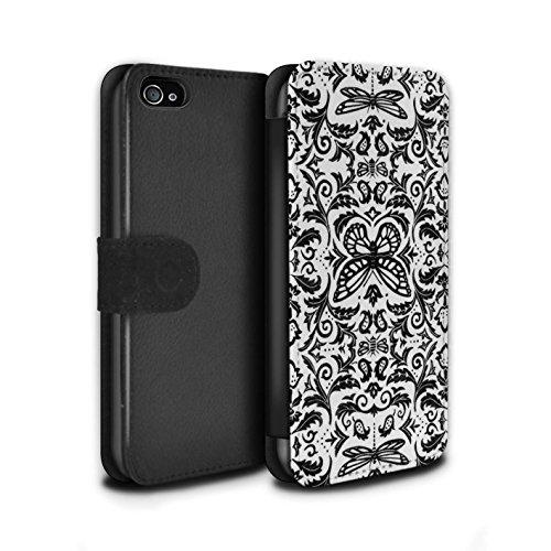 Stuff4 Coque/Etui/Housse Cuir PU Case/Cover pour Apple iPhone 4/4S / Noir / Blanc Design / Motif médaillon Collection Noir / Blanc