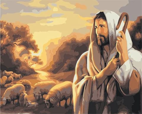 Obella Peinture par numéros Kits issu de la gamme Jésus 50x 40cm issu de la gamme Peinture par numéros numériques, peinture à l'huile, sans cadre