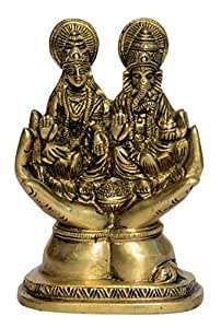Lord Ganesh Laxmi Sitting On Hand with Fine Finishing Work by Bharat Haat BH00926