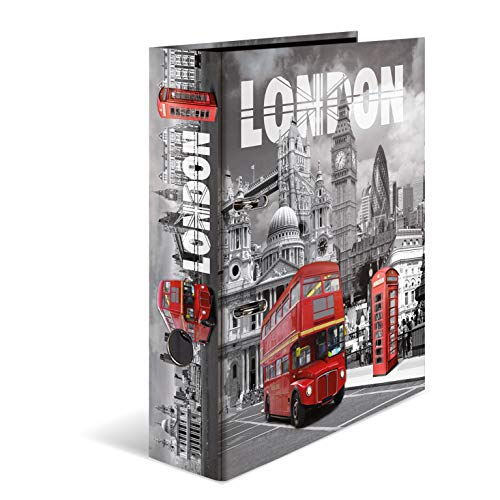 HERMA 7172 Motiv-Ordner DIN A4 Trendmetropolen London, 7 cm breit aus stabilem Karton mit Städte Innendruck, Ringordner, Aktenordner, Briefordner, 1 Ordner -