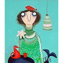 Cuadro sobre lienzo 100 x 120 cm: The Mermaid Felicitas Orana celebrates de Theresa Franziska Jänisch - cuadro terminado, cuadro sobre bastidor, lámina terminada sobre lienzo auténtico, impresión e...