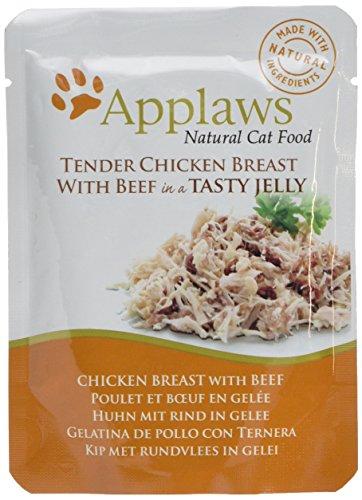Applaws Katze Beutel, Huhn mit Rind in Gelee, 16er Pack (16 x 70 - Napf Hühner Futter
