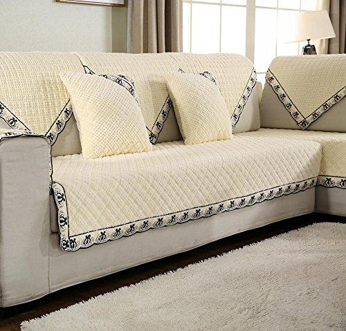 WANGS Sesselschoner,Sectional Sofa Werfen Abdeckung Rücken und armlehne Separat Slip Cover Anti-Rutsch plüsch Ideal für Liege-Weiß-P pillowcase18x18inch(45x45cm)