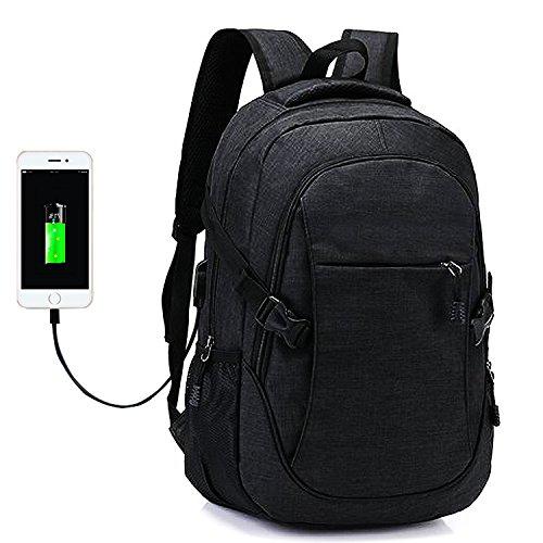 Laptop Rucksack Tasche - Nylon Computer Tasche Schulrucksack Rucksäcke mit USB Ladeanschluss für 15.6 Zoll Laptop und Notebook Schwarz Computer-tasche, 18 Zoll