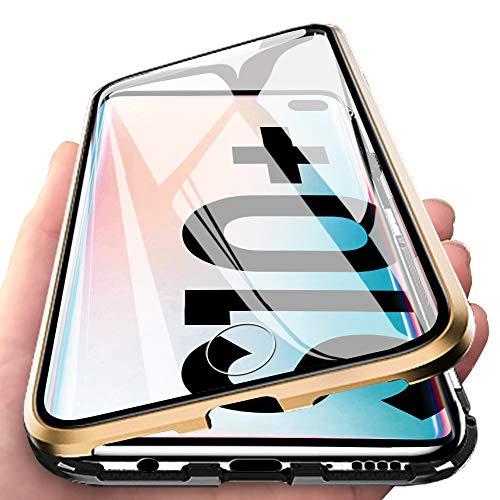 Eabhulie Galaxy S10 Plus Hülle, Vollbildabdeckung Gehärtetem Glas mit Magnetischer Adsorptionskasten Metall Rahmen 360 Grad Komplett Schutzhülle für Samsung Galaxy S10 Plus Gold Schwarz