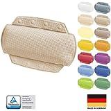 Spirella Badkudde Alaska beige med 8 sugkoppar antibakteriell, halkfri 23 x 32 cm tvättbar, tillverkad i Tyskland