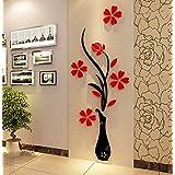 ملصقات جدارية على شكل مزهرية ارجوانية ثلاثية الابعاد مصنوعة من الاكريليك لغرفة المعيشة وغرف النوم وديكور خلفية التلفزيون ملم
