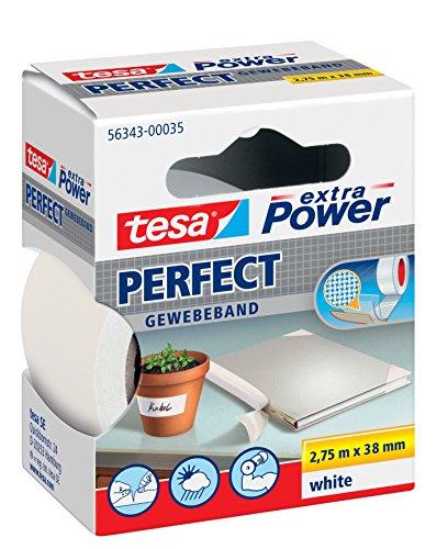 tesa® extra Power Perfect Gewebeband (2,75m x 38mm / 3er Pack, weiß)