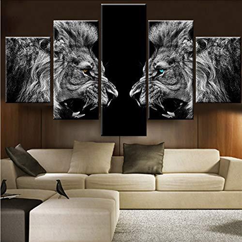 zlxzlx (Kein Rahmen) Poster Leinwand Malerei Wohnzimmer Wandkunst 5 Stücke/Stücke Tier LöwenDrucken Hd R GedrucktDekoration Bild -